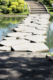 Bridge marble on river green. Bridge on river green tropical summer season Royalty Free Stock Photos