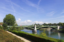 Bridge on Marne river Royalty Free Stock Images