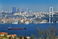 ISTANBUL, TURKEY - MARCH 24, 2012: Bridge over the Bosphorus. stock photos
