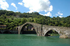 Bridge of Mary Magdalene. Picture of the bridge of Mary Magdalene near the town of Borgo a Mozzano in Italian province of Lucca. Also called the bridge of the Stock Image