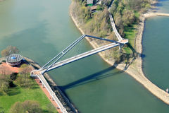Bridge in Media harbor in Dusseldorf - Aerial shot Stock Images