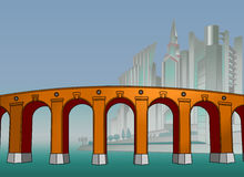 The bridge in the mega city. Cartoon style. Poster. Background. Royalty Free Stock Photography