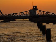 Bridge Meiningen at sunset. Bridge Meiningen in between Zingst and Bresewitz, Mecklenburg-Western Pomerania, Germany Royalty Free Stock Photography