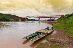 The bridge Mekong river Chai Buri Laos Stock Photography