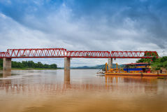 The bridge Mekong river Chai Buri Laos Royalty Free Stock Photos