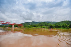 The bridge Mekong river Chai Buri Laos Royalty Free Stock Photo