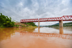 The bridge Mekong river Chai Buri Laos Stock Photos