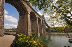 The Bridge at Menai. The suspension bridge connecting Anglesey to the welsh mainland was built in 1826 by Thomas Telford Stock Photos