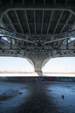 The bridge. Metal construction of the bridge, Nizhny Novgorod Stock Images