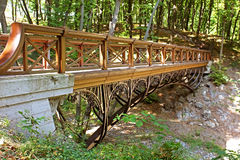 Bridge in Mezhyhirya - former private residence of ex-president Yanukovich Stock Photo