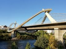 Bridge over the river. Bridge of Milenium of Ourense city royalty free stock photos