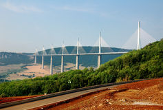 Bridge of Millau, France. The famous bridge across the valley near Millau in France Stock Photos