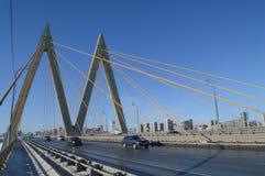 Bridge `Millenium`, Kazan, Russia. Bridge `Millenium` on the sky background, Kazan, Russia Royalty Free Stock Photo