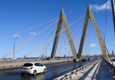 Bridge `Millenium`, Kazan, Russia. Bridge `Millenium` on the sky background, Kazan, Russia Royalty Free Stock Images