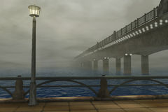 Bridge in mist Royalty Free Stock Photos