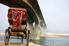 Bridge in the Mist with Cycle Rickshaw Stock Photos