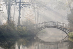 Bridge in misty morning Stock Photography