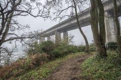 Bridge in the Misty Morning Stock Photo