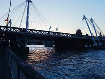 Bridge modern city centre London construction water river. Britain england landscape Royalty Free Stock Image
