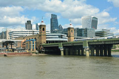 Bridge and modern City of London with skyscrapers, United Kingdom Royalty Free Stock Photography