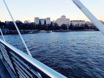 Bridge modern metal architecture city centre symbol. Water river Thames city centre symbol london Stock Image