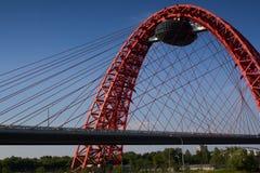 Bridge. Modern shroud red bridge on the blue sky background Stock Images