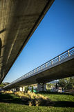 Bridge and modern street in Sant Cugat del Valles. Barcelona Royalty Free Stock Photography