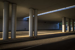 Bridge and modern street in Sant Cugat del Valles. Barcelona Spain Royalty Free Stock Photography