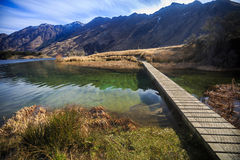 Bridge at Moke Lake, Queenstown, New Zealand Royalty Free Stock Photo