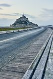 On the bridge of Mont Saint Michel. Normandy, France Royalty Free Stock Image
