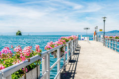 Bridge in Montreux, where the ship comes in. Stock Image