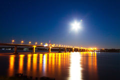 Bridge and moon Stock Image