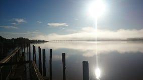 Bridge. Morning fog bridge Dargavile harbour river stock image