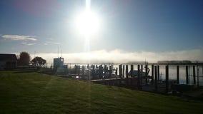 Bridge. Morning fog bridge Dargavile harbour river royalty free stock images