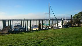 Bridge. Morning fog bridge Dargavile harbour river stock images