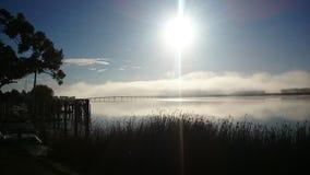 Bridge. Morning fog bridge Dargavile harbour river royalty free stock photos