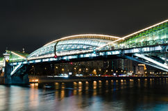 bridge moscow night Στοκ Φωτογραφίες
