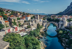 Bridge in Mostar. Mostar, Bosnia and Herzegovina - August 25, 2015. View with Stari Most (english: Old Bridge), reconstructed 16th century Ottoman bridge, main Royalty Free Stock Photography