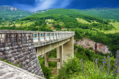 Bridge mountain landscape, Montenegro. Durdevica Tara arc bridg. E in the mountains, One of the highest automobile bridges in Europe Stock Photos