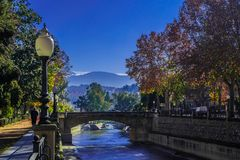 Bridge and mountains royalty free stock image