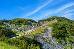 A bridge through mountains in a bright summer day Royalty Free Stock Image