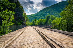 Bridge and mountains in Lehigh Gorge State Park, Pennsylvania. Royalty Free Stock Image