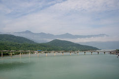 Bridge and mountains in Vietnam stock images