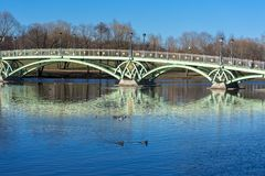 Bridge in the  museum reserve Tsaritsyno. MOSCOW, RUSSIA -06,04,2019: bridge in the  museum reserve Tsaritsyno stock images