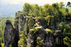 Bridge named Bastei in Saxon Switzerland Germany. Bridge named Bastei in Saxon Switzerland, Germany Royalty Free Stock Photography