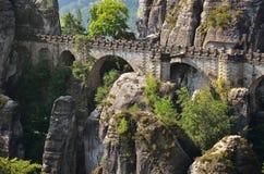 Bridge named Bastei in Saxon Switzerland Germany Royalty Free Stock Photography