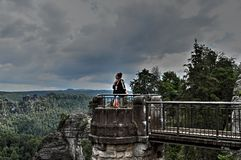 Bridge named Bastei in Saxon Switzerland Stock Photo