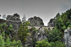 Bridge named Bastei in Saxon Switzerland Royalty Free Stock Image