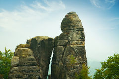 Bridge named Bastei in Saxon Switzerland Germany on a sunny day Royalty Free Stock Images