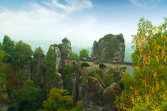 Bridge named Bastei in Saxon Switzerland Germany on a sunny day Stock Photography